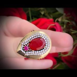 Pleaidian Star Red Ruby Sterling Silver Ring 925